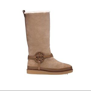 Tory Burch Sand Dana Desert Shearling snow leather Boots US size 8